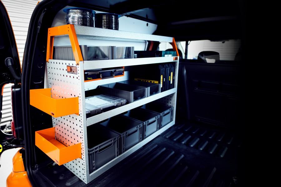 V-BASIC Fahrzeugregal für VW Caddy mit Zubehör