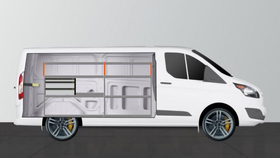 Fahrzeugeinrichtung V-LS3 mit drei Schubladen für den Ford Transit Custom L2H1.