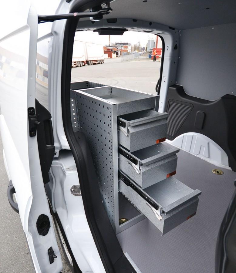 H-SD3S Fahrzeugregal für VW Caddy mit geöffneten Schubladen.