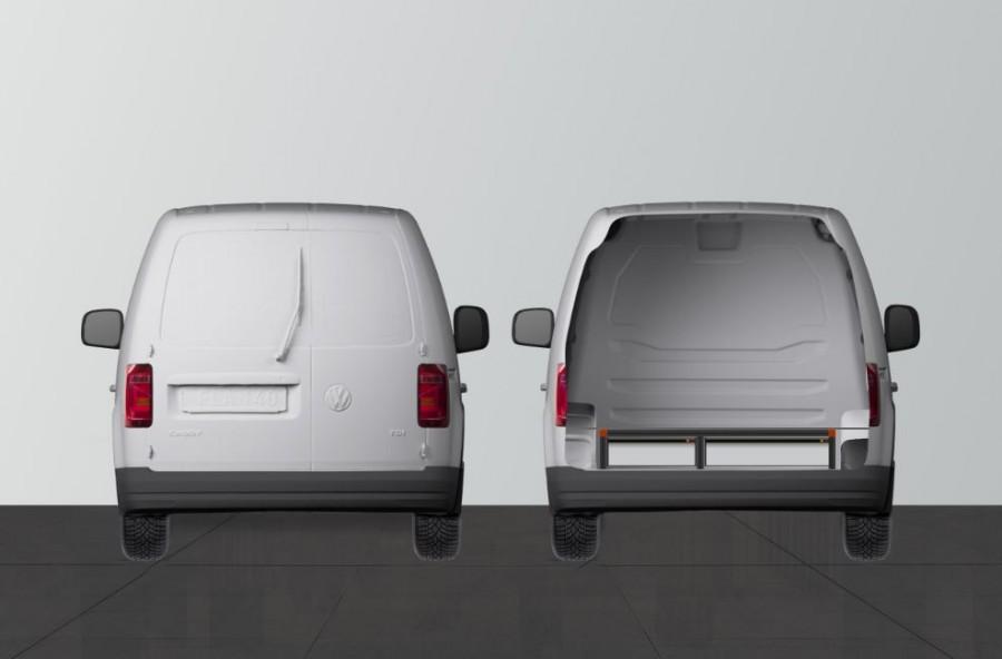 UNTERFLUR H21 mit drei Schubladen für VW Caddy - Heck ansiecht.