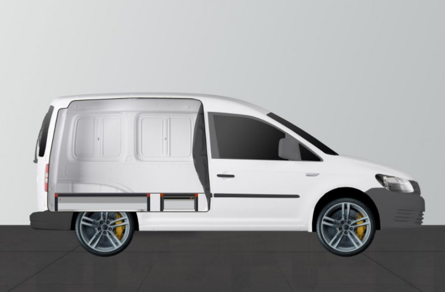 UNTERFLUR H21 mit drei Schubladen für VW Caddy - Seiten ansiecht.
