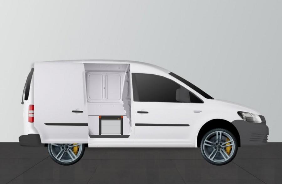 UNTERFLUR H34 MIT 4 Schubladen für VW Caddy mit Tür
