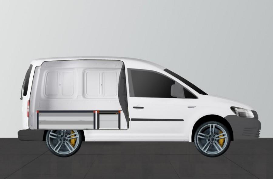 UNTERFLUR H34 MIT 4 Schubladen für VW Caddy Seiten ansiecht