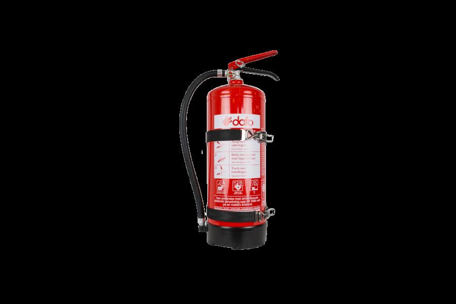 Brandsläckare 6kg pulver ABC godkännd med fordonsfäste