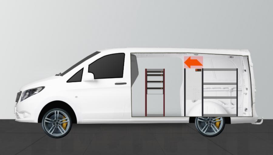 H-SD4M Fahrzeugregal für Mercedes Vito Lang | Work System